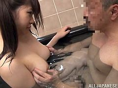 Her fragile wet body, those girlish ponytails and her pretty face is all she needs to make a man wanna give her pretty face a big load of jizz. This chick is in the bathtub with her man and she delights herself with his cock. Having enough in her mouth she bends over and receives it from behind like a good girl