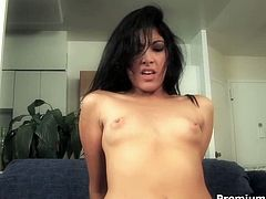 Monica Austin is the hottest chick I've ever seen! That brunette enchantress can give any man an instant erection just seeing her pretty face. This time she gets her hairy snatch fucked hard by cocky stud in the wildest interracial sex scene ever!