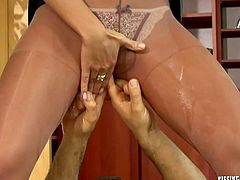 Two hot blooded lesbians get fucked in turns while finger fucking each other's cunts