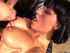Juggy brunette hussy gets banged in missionary style