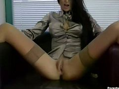 It's high time to wankerbate! Kinky busty brunette sits in armchair, stretches legs wide and pulls up skirt. Passionate wanker with pretty face has some dildos for a proper drilling of her wet pussy and tight asshole.