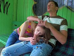 Beata is a naughty teen girl who is sex hungry all the time. Guy in blue jeans gets his hard cock out and swete teen girl gievs head. Beata takes his rod up her pussy after cock sucking. She rides dick with her panties on.