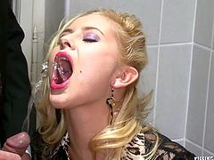 Sex greedy dude catches a flamboyant salty blondie pissing in a toilet. He joins her to receive a zealous blowjob in steamy sex video by Tainster.