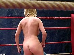 Tiffany Doll and Mandi Dee have a pretty hot and arousing lesbian nude wrestling session in the gym in the wresting ring and enjoy in getting caught on cam