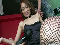 Incredibly sexy and awesome gal from Japan wears bunny hair, sexy tight black dress and fishnet stockings. Torrid mesmerizing brunette stretches legs wide, tickles her pussy and starts sucking two cocks for sperm at once. Check this astonishing filth in Jav HD to jerk off for pleasure.