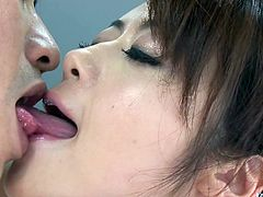 Divine Japanese babe give zealous oral fuck to sturdy penis remembering to rub it with her small tits before she gets on it for a ride in cowgirl style.