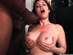 Lascivious redhead hoe is sucking black dick deepthroat. When the guy is hard as hammer she serves her cunt for a hardcore pounding action.