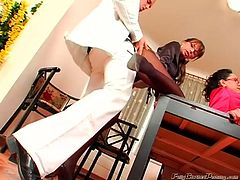 Spoiled brunettes work as secretaries in the office. The best way to relax for horny sluts is to be banged missionary right on the table. Whorish nymphos in short skirts and tight blouses demonstrate their tits and nice rounded butts before giving stout blowjobs to lucky dudes. Gosh, this group fuck in Tainster sex clip can make anyone jizz at once.