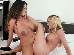 Blonde Ariella Ferrara is in lesbian sexual ecstasy with Amy Brooke