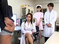 Japanese nurses are having a good fuck at work along some horny dudes