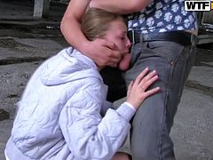Blonde enjoys hardcore sex for cash and it's the first time for her
