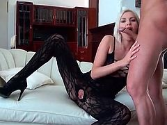 Sexy blonde in lingerie gives lipstick blowjob