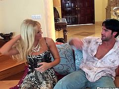 Sexractive blond milf masturbates in front of aroused dude before he starts eating her cunt and later pokes it in doggy, sideways and cowgirl styles in sultry sex video by Premium HDV.