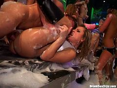 Welcome to the orgy party organizes by horny lesbos. Soapy all naked chicks go nuts as soon as they're drunk. Appetizing slim nymphos with sweet boobs are great experts in eating and spooning wet cunts and do it perfectly well for reaching orgasm at once.