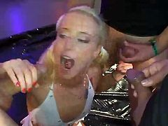 This blonde has three cocks to please. She uses her mouth and cunt hole for their cocks, but is also used as a human toilet.