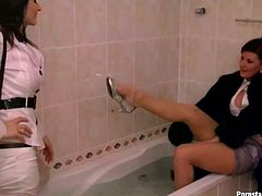 Well, are you ready to see something really weird and impressive? Then press play and have a look at voracious brunettes presented in Tainster sex clip. Spoiled chicks with nice boobs don't get rid of clothes. The horniest bitch in fur coat put her legs into the hot bath and dreams about rubbing the pussy of fully clothed bitch.