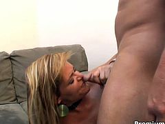 Adorable babe rides cock reverse and gets her pussy doggy drilled hard. After missionary style penetration he splatters all his juice on her lustful face.