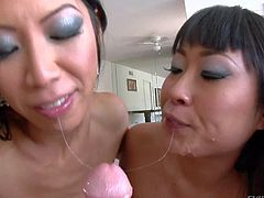 Lusty cock addicted black haired asian whores Tia Ling and Yuki Mori with great oral skills give mind blowing blowjob session to stud with long stiff cock in point of view