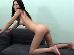 This super sexy and petite hottie is so fucking naughty. She gets naked and fucks this dude so hard till he loses his mind and cums on her face.