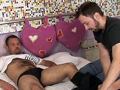 Heitor has gone completely mad here. He enters his man's room and without wasting any time he is going for the real business. He strips his man and as soon as his dick is strong he is wrapping his lips around that huge dick and sucking it over and over again. He is hoping that he is going to get the same.