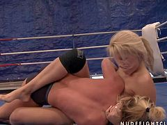 Young sexy always horny slutty blondes Brandy Smile and Kathia Nobili with natural boobs and firm delicious bums get naked during furious chick fight on floor in the ring