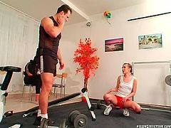 Alluring young chic lures her beefy gym coach. She ora fucks his massive dick before another hussy join them. Later he pisses in a glass, which is later poured on a frisky teen in perverse threesome sex video by Tainster.