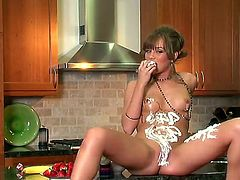 Spending some time in the kitchen is what delicious Capri Anderson loves to do all the time and in this video you can see her using whipped cream in the kitchen.