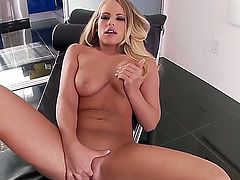 Britney Young takes toy up her cunt after sexy striptease