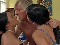 Black haired slim sluts with firm asses in underwear only Abbie Cat and Bettina Dicapri have fun with naked old fucker with muscled body in living room on a lazy afternoon