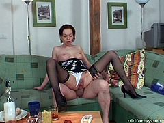 Ruined brunette harlow in dirty lingerie and black stockings gives a head to rapacious grandpa before she rubs her cunt with fingers. Later she gets on him for a ride in cowgirl style in perverse sex video by Pack of Porn.