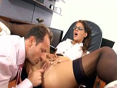 Secretary with glasses having sex in stockings.This horny slut knows her boss loves tight holes.Watch this office slut getting fucked in her all holes on office table.