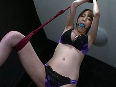 Two perverse doctors give bad times to mesmerizing Japanese babe in seductive satin lingerie. They hang her to the ceiling and plug her mouth with a gag before they take vibrators to tease her beaver and big tits with hard nipples in steamy threesome sex video by Jav HD.