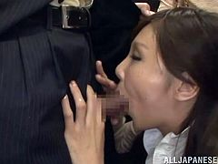 Salacious Japanese milf is having a good time with a stranger in a bus. She kneels in front of him and begins to suck his dick. She does it remarcably well and forgets about everything in the world.