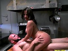 Curvaceous Gabbi Vega gives great blowjob and then takes her clothes off. After that she gets fucked and jizzed in her ass.