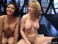 Wild Nina hartley along asian beauty are sharing hard dick in threesome femdom session