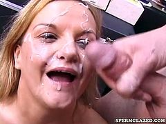 Horny blonde sucks and fucks with several cocks before swallowing their loads