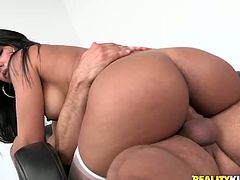 Stunning Rose Monroe shows her hot booty and then sucks big erected dick. After that she gets fucked rough on the floor.