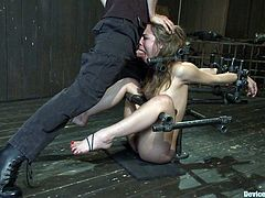 Check out this twisted bdsm scene with a masochist blonde whore gettin' abused and toyed with by a sadist! It's intense!