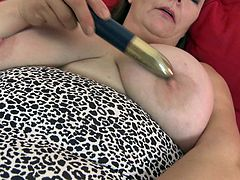 Our brunette mature has gone made and she desperate for some masturbation. Look how this lustful slut is licking her dildo before before touching it on her huge tits. She gropes those tits and boobs. Then she inserts that dildo in her vagina by keeping her legs wide. let's see will she suck some juice