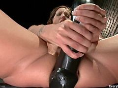 Luscious brunette girl take her black lingerie off and shakes her big ass. After that she toys her ass and gets pounded rough.