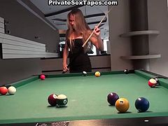 Just have a look at this voracious and kinky blondie presented in WTF Pass sex clip. Slender gal with nice butt isn't good only at playing billiard. Dirty amateur slut is a great sex expert. Torrid nympho likes sucking a dick for gooey cum and desires to be repaid with a tough poking from behind.