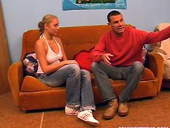 Dirty-minded slender blond head with nice tits stretches legs wide. Submissive dude takes off her socks and jeans to massage her legs. Wondrous chick enjoys the process and gonna surely repay with a fuck.
