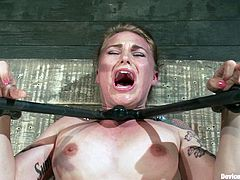 A fucking kinky bondage whore gets restrained with devices in this kinky scene right here where the dominant fucker goes sadist on her!