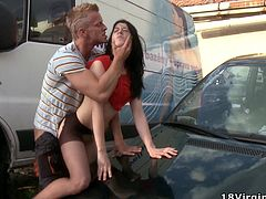 This bitch gets fucked for the first time on top of a fucking car while outdoors, isn't that fucking epic? Check it out right here!
