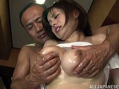 This juicy and lusty siren is getting that huge cock, having her huge melons oiled up! Holly shit, those jugs are too huge for her!