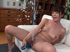 This sexy Japanese babe knows how to use a vibrator, just right to make her lady cum fly all over the room. She thrusts the vibrator hard and fast into her cunt, so she hits the g spot and her ejaculate gets sprayed in your face.