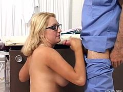 Jessica Sweet is not feeling well at all. She goes to the emergency room and sees Doctor Jeremy Steele in his office. He has the medicine for here. He strips off her gown and fondles her breasts. She needs an injection of his hot cum. She sucks off his penis until he releases cum on her glasses.