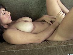 Attractive oriental babe Layla has got curvy body with big succous boobs. She plays with her wet snatch using smooth sex toy. Exciting porn clip presented by Young Busty on anysex.com for free.