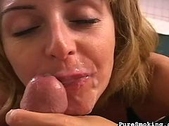 Horny blonde enjoys sucking cock in POV session while smoking in the same time