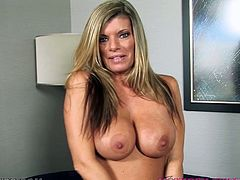 Hot blonde mommy Krystal Summers shows her awesome boobs and shaved pussy to some guy and makes him horny. Then she kneels in front of him and drives him crazy with an outstanding blowjob.